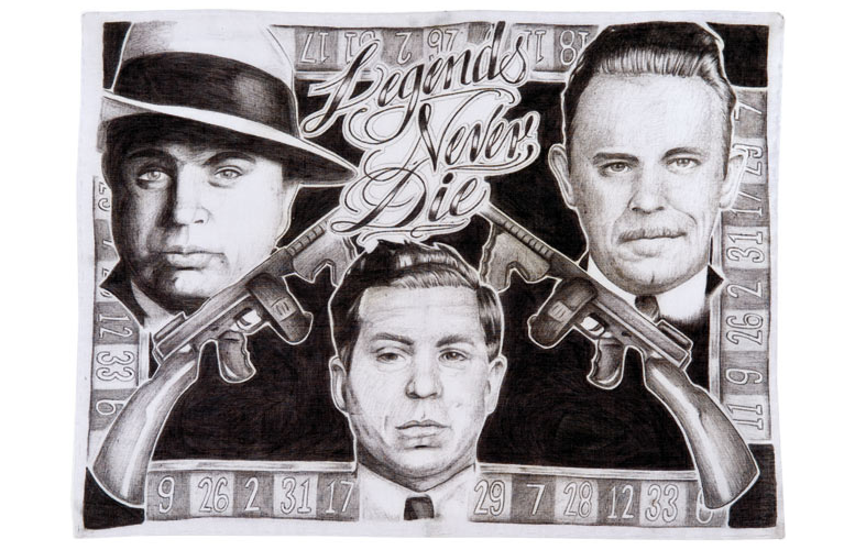 Pachuco drawing los. Tropicalizer cholo art in