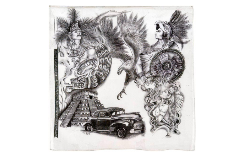 Pachuco drawing lowride car. Tropicalizer cholo art in