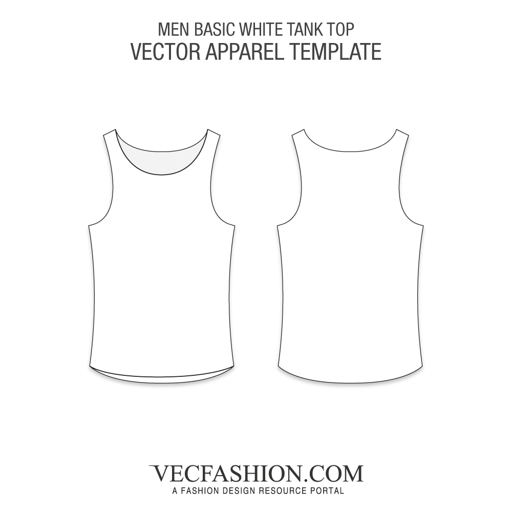 Package vector template. Basic white tank top