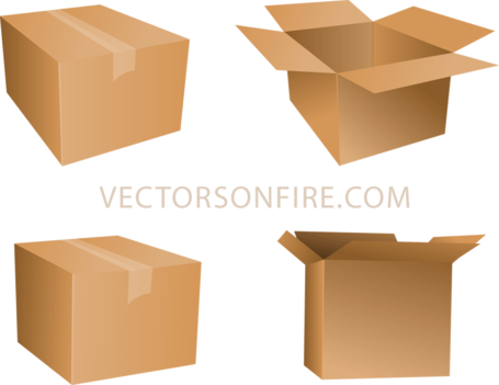 Free cardboard box icons. Packaging vector graphic stock