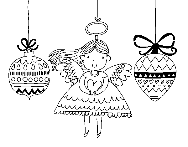 Page ornaments png. Angel and christmas coloring