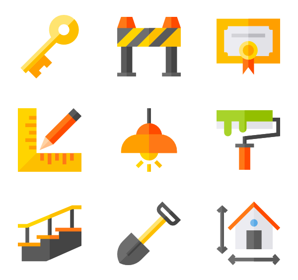 Vector working architecture. Sketch icons free
