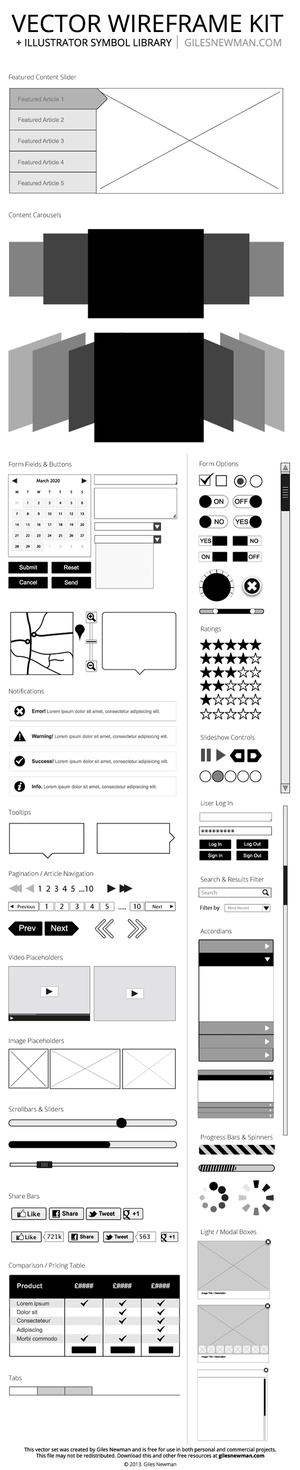 Page vector web. Top free wireframe kits
