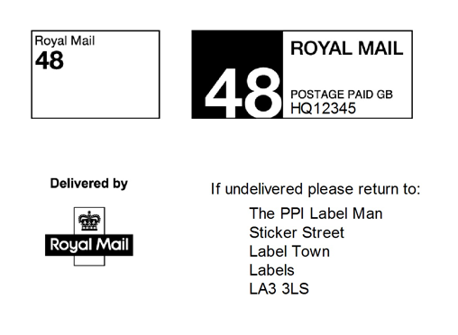 Paid postage png. Printed ppi labels