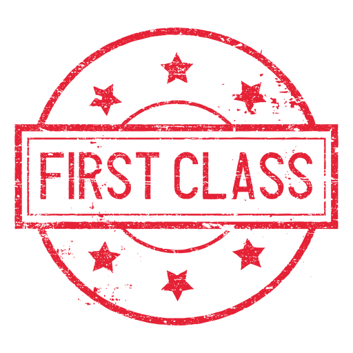Sellos postales vintage png. First class round seal