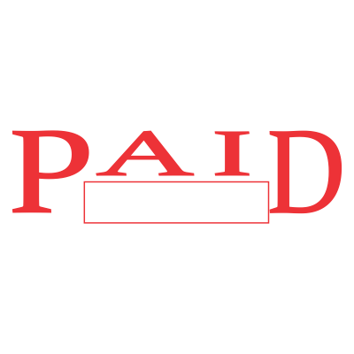 Paid stamp image png. Office large block style