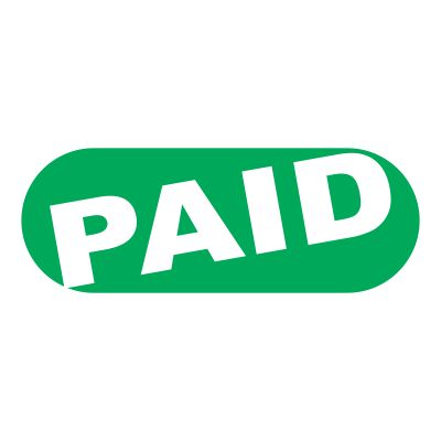 Paid stamp png. Office retro design