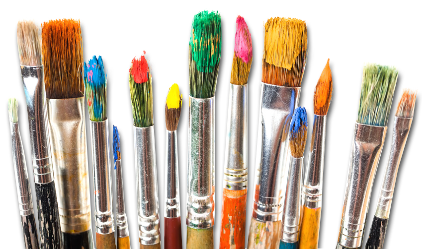 Paint brushes png. Transition from to pixels