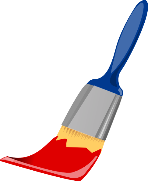 Brush clipart paint brush. Blue and red clip