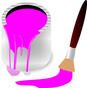 Paint clipart paint brush. Pink bucket and clip