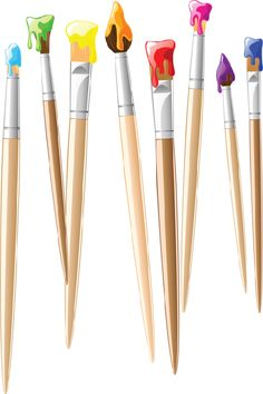Paint clipart paint brush. Pallete and brushes clip