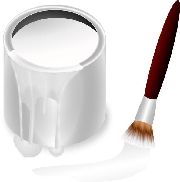 Paint clipart paint pail. White bucket and brush