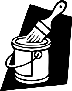 Paint clipart paint pail. Can and brush clip