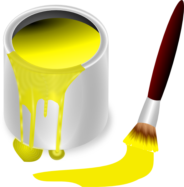 Paint clipart yellow. With brush clip art
