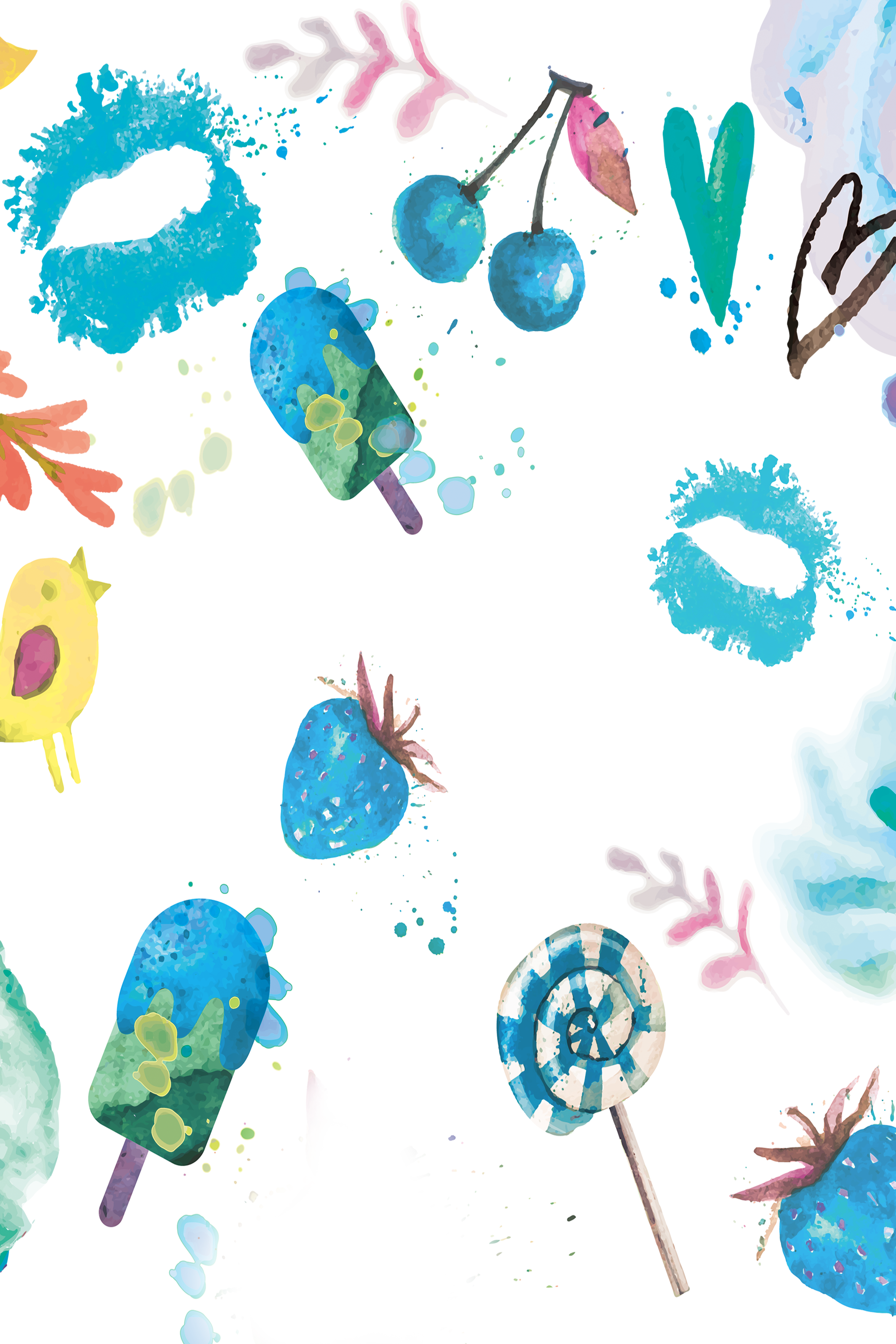 Puddle png. Watercolor painting summer blue