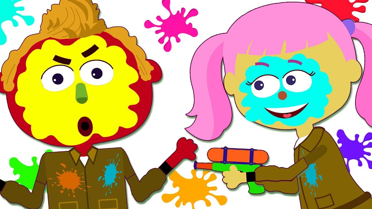 Paintball clipart kid. Learn colors with funny