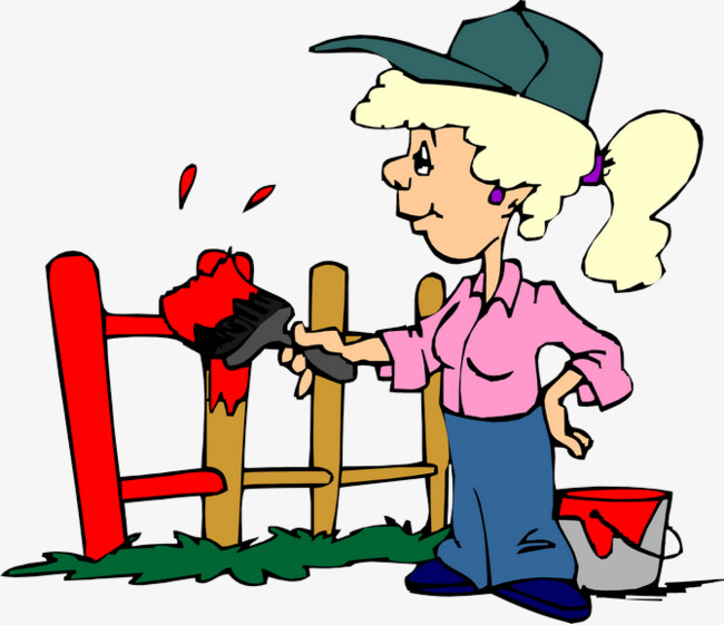 Paintbrush clipart painting fence. Character paint cartoon png