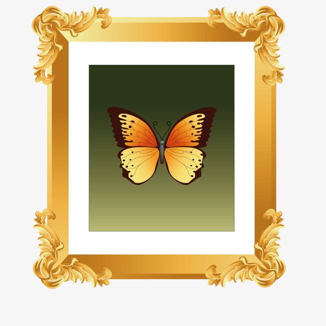 Painting clipart wall frame. Butterfly picture png and
