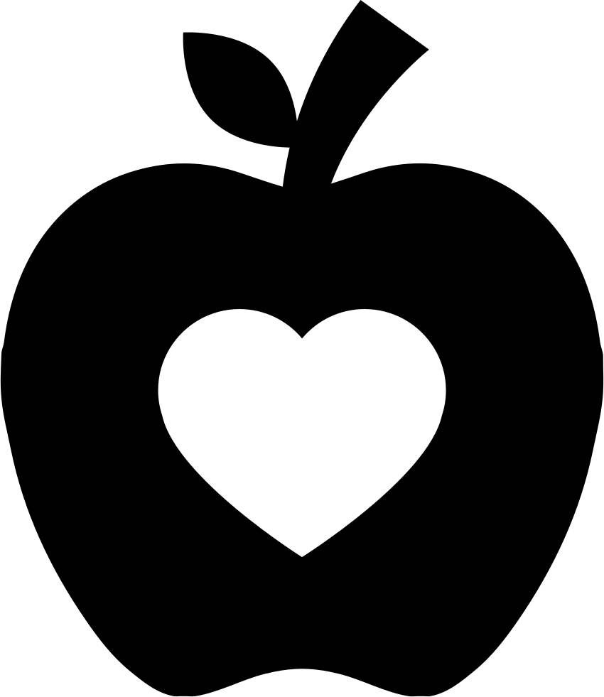 Pair of apples outline png. Apple silhouette with heart