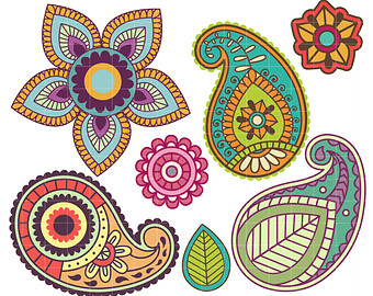 Flower . Western clipart paisley vector stock