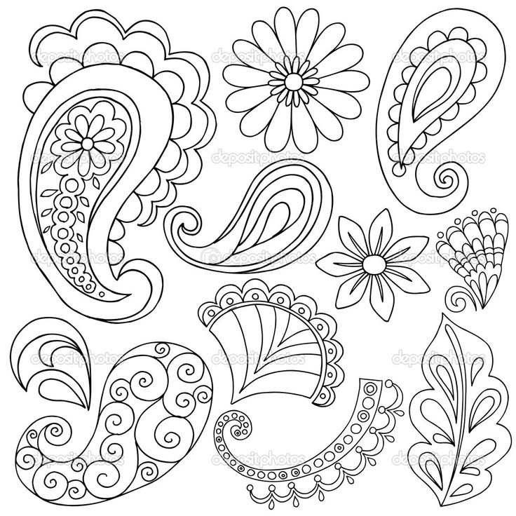 Paisley clipart simple. Line drawing at getdrawings