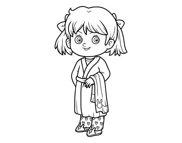Pajamas drawing. Little girl with coloring