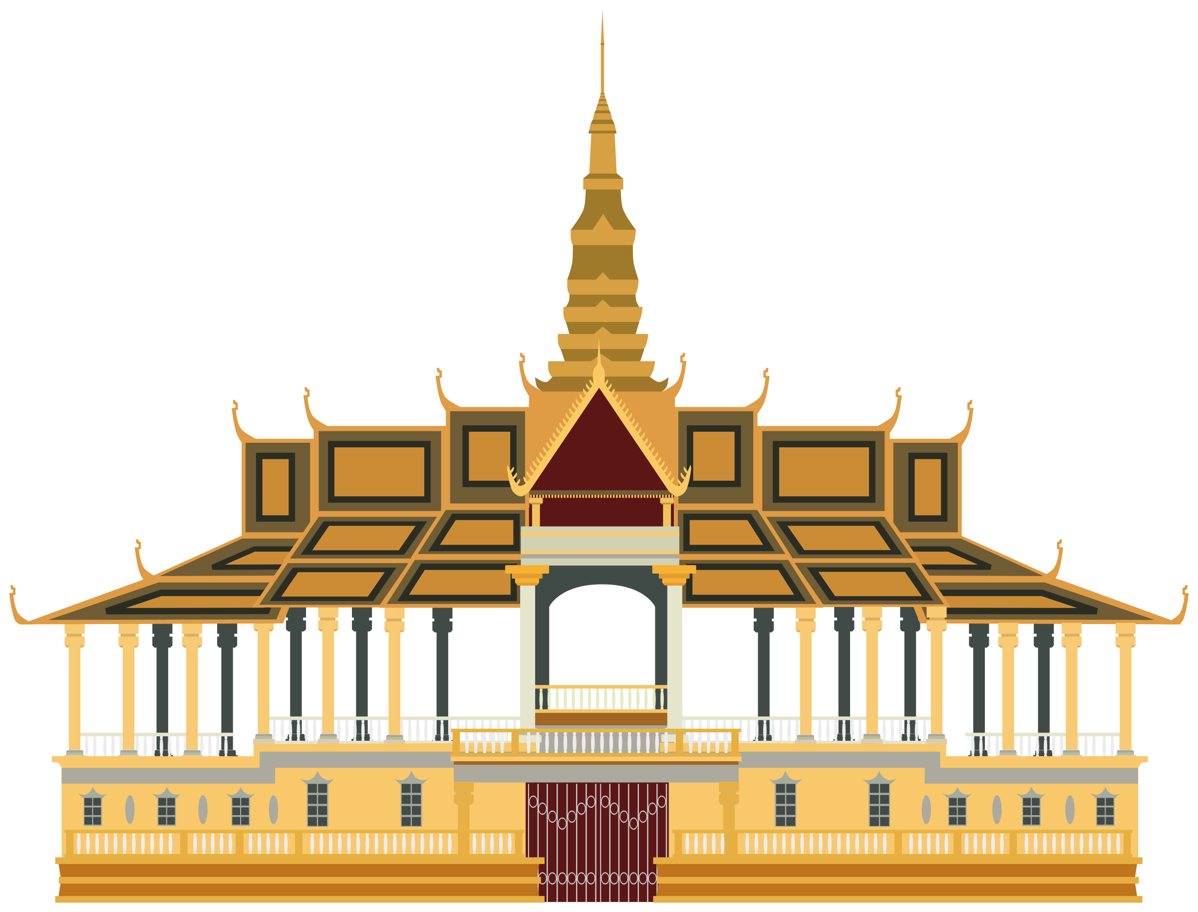 Temple clipart cambodian temple. Royal palace phnom penh