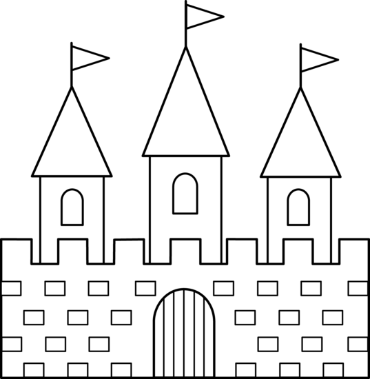 Palace clipart simple. Black and white pencil
