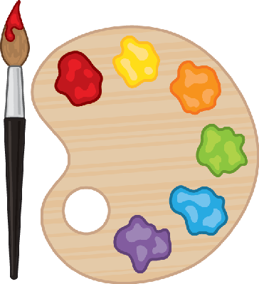 Vector paintbrush palette. And clipart the arts