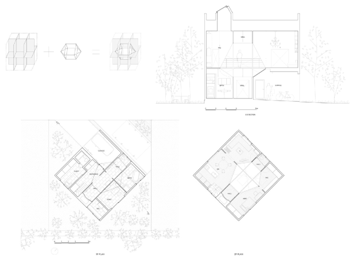 Palimpsest drawing architecture. Kame house eclectic created