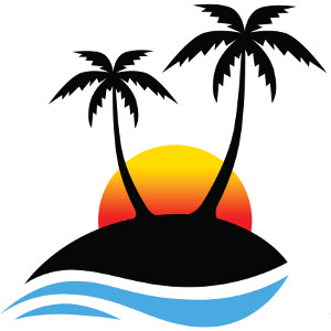 Palm clipart sun. And tree