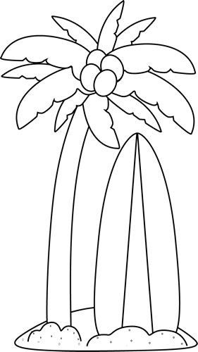 Palm clipart word. Black and white surfboard