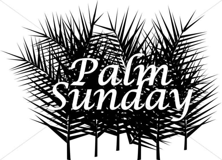 Palm clipart word. Sunday with many fronds