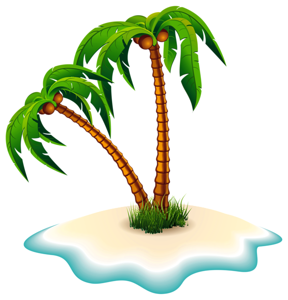Curved palm tree png. Trees and island clipart