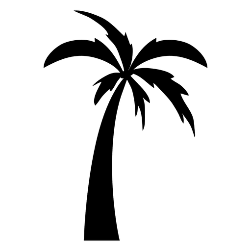 Palm tree black and white png. Simple silhouette cartoon transparent