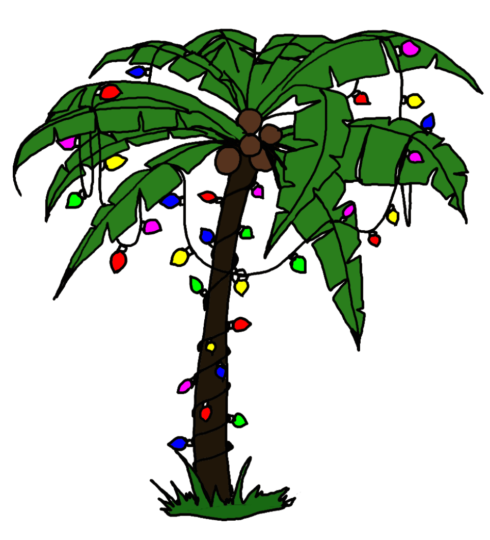 Palm tree christmas tree png. With lights clipart creative