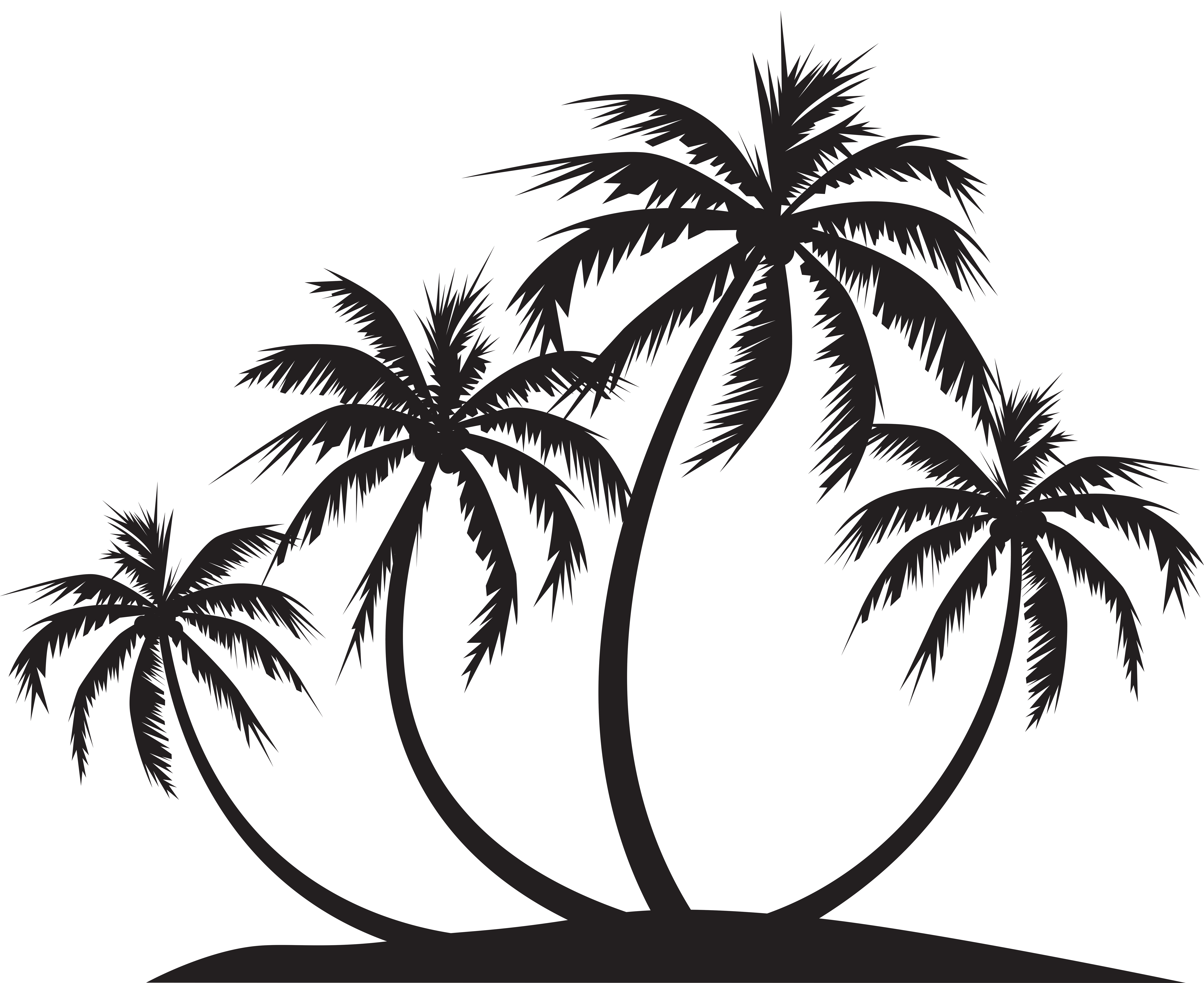 Palm tree clipart black and white png. Island silhouette clip art