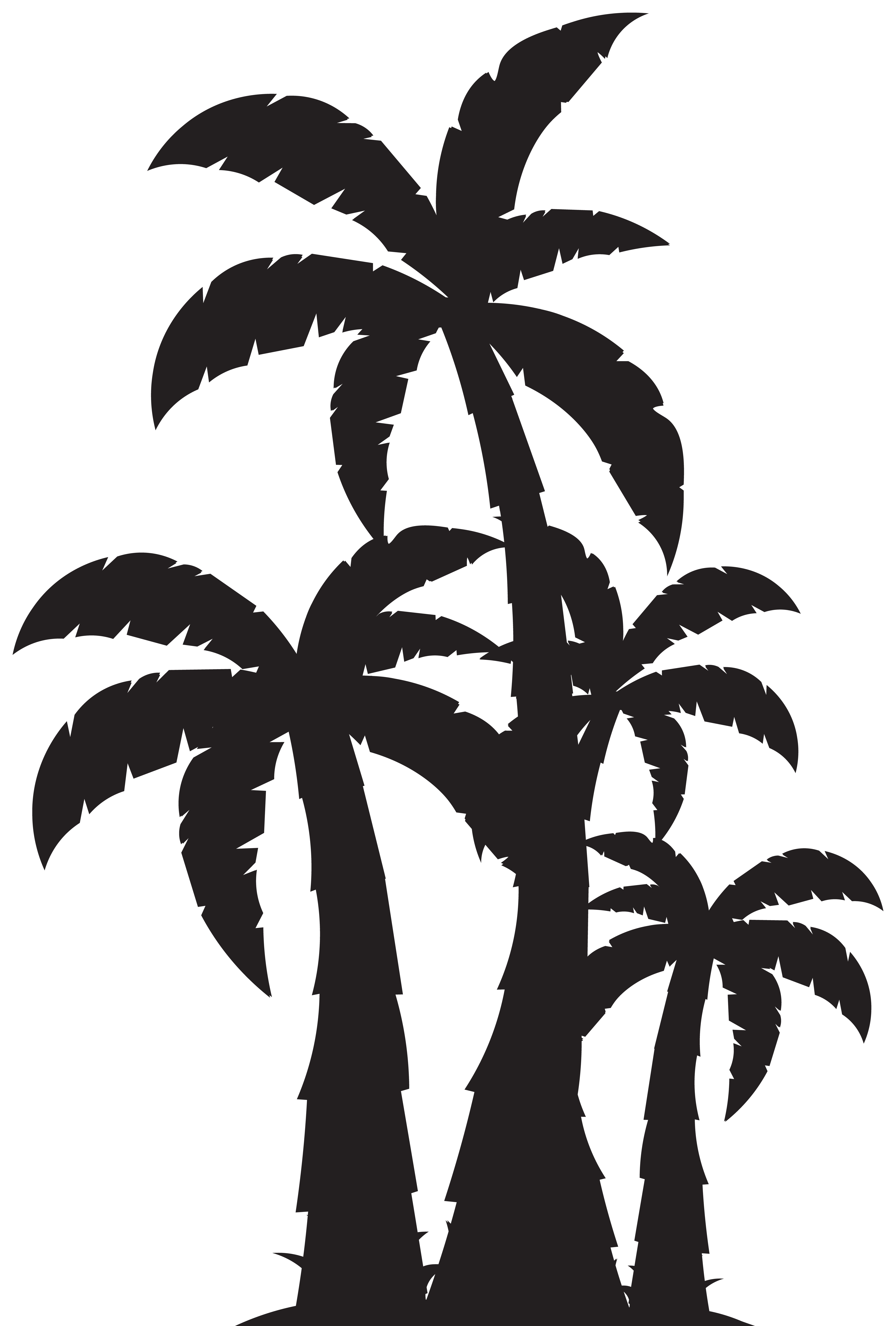 Palm trees and sun black and white png. Tree silhouette clip art