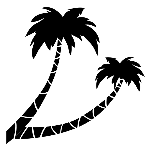 Svg silhouette palm tree. Two transparent png vector