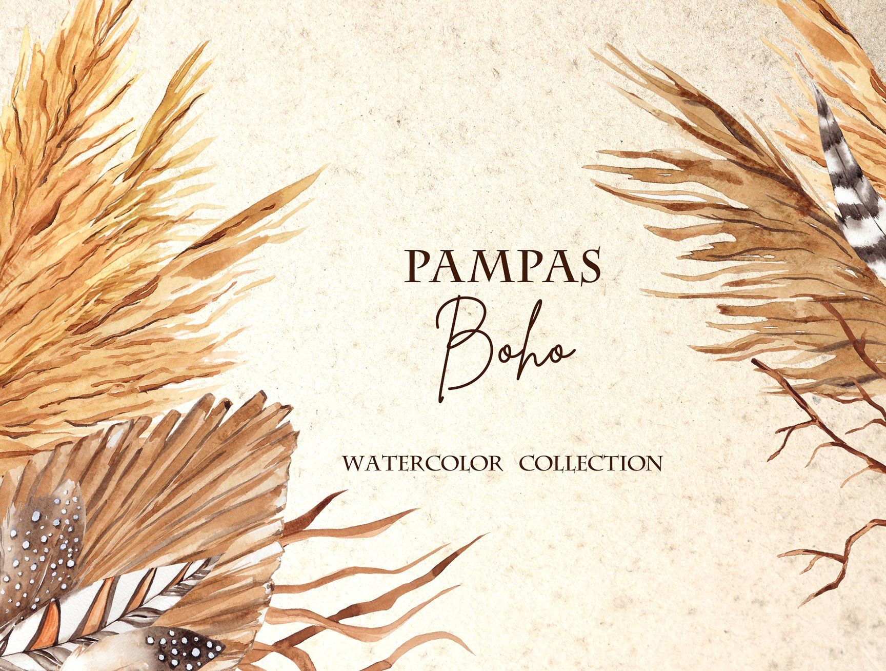 Pampas. Boho watercolor collection by