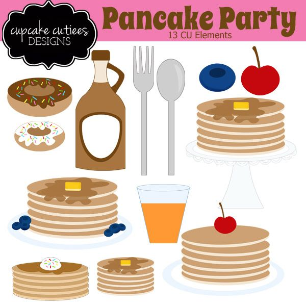 Pancake clipart pajama. Party digital clip art