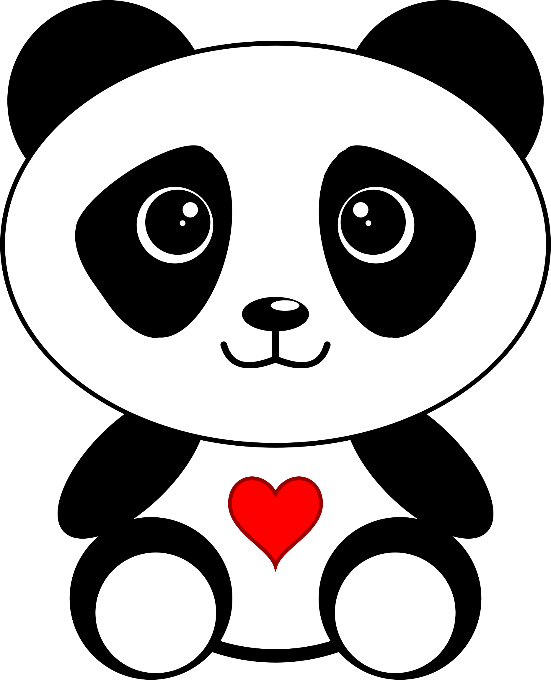Panda clipart small. With a heart big