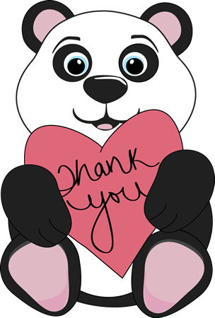 Panda clipart png. Thank you bear holding