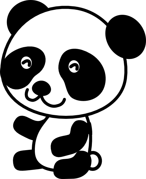Panda clipart small. Black and white free