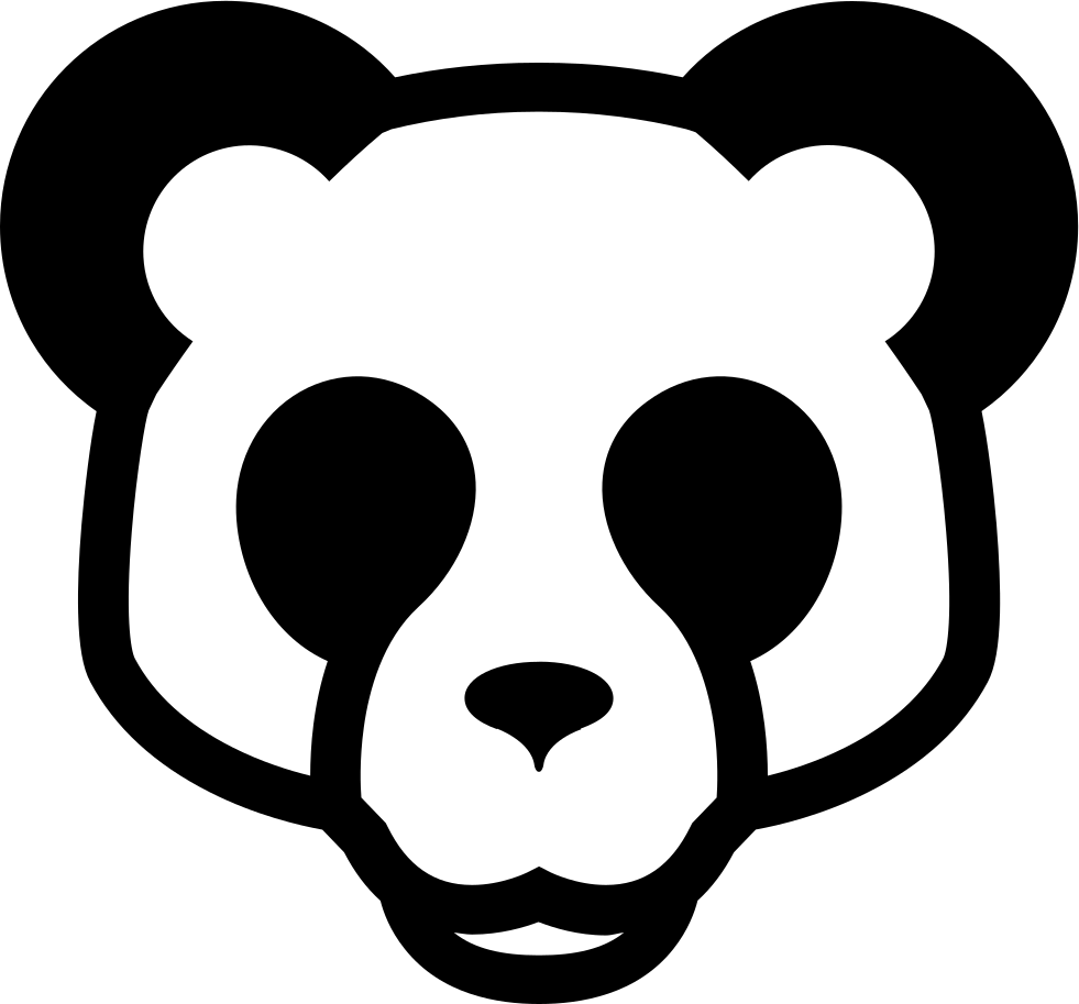 Standing panda png. Bear face front svg