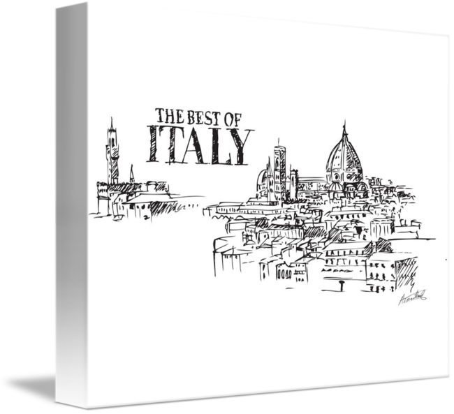 Panorama drawing architecture. City of florence italy