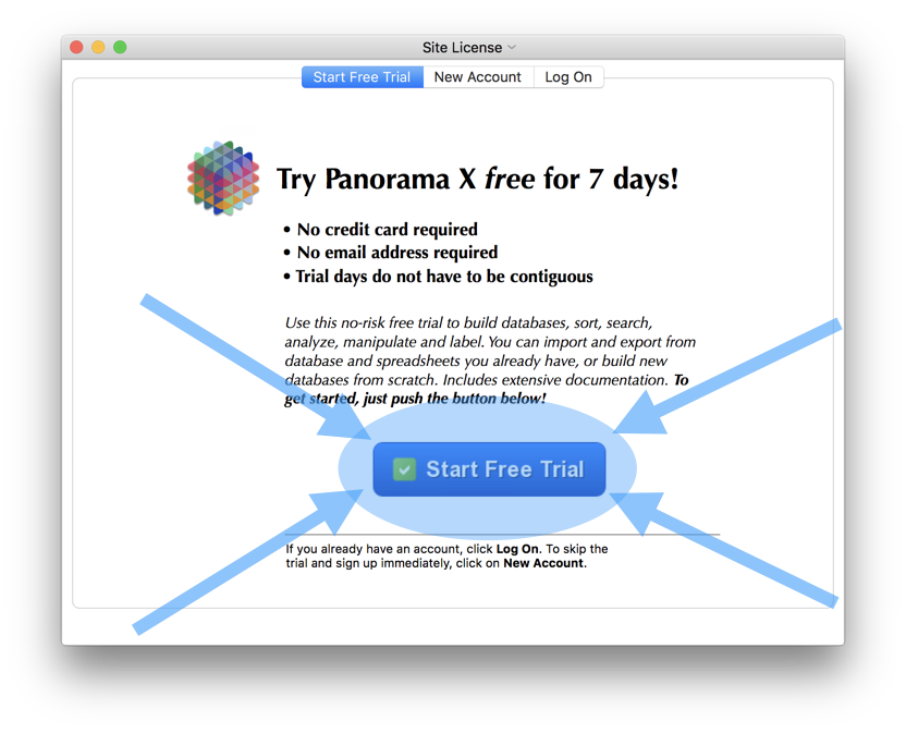 Panorama drawing memory. X database software for