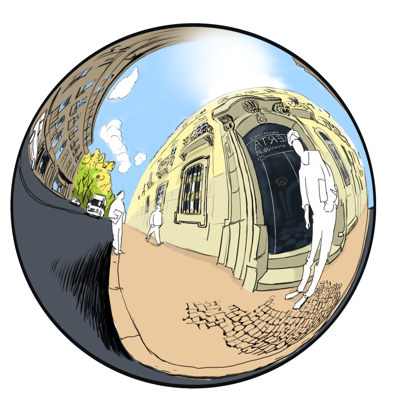 Panorama drawing perspective. Equirectangular perspectives for immersive