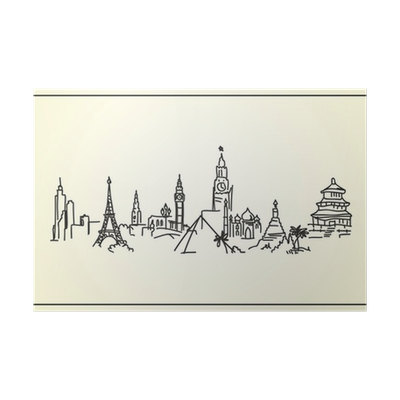 Panorama drawing city. Sketch hand the world