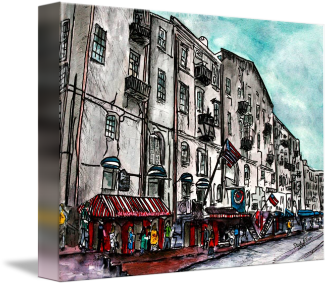 Georgia river street watercolour. Savannah drawing graphic library download